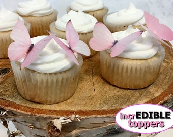 BLUSH PINK Edible Butterfly Cake Toppers for Weddings, Birthday Cakes, Baby Showers. Baby Pink | Light Pink | Blush Rose
