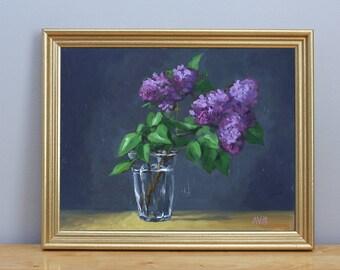 Lilacs Original Flower Painting Still Life by Aleksey Vaynshteyn