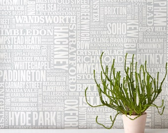 London Type Wallpaper, Map of London Wallpaper, UK Wallpaper, Typographic Wallpaper, Home Decoration, Word Wallpaper