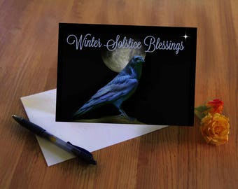 Winter Solstice Raven and Moon Cards, Enlightenment and Peace for the Soul Cards, Native American Themed Solstice Night