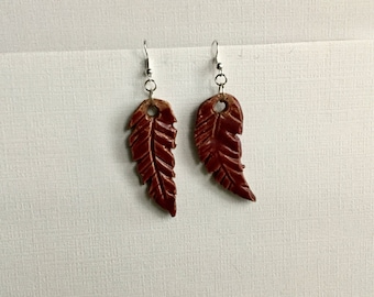 Deep Red Clay Feathers  Drop Earrings