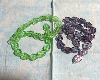 1 Strand Czech Glass Leaf Beads 8 x 10mm (B29f/g)
