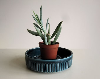 Mid century candle holder and plant pot by Prinknash / teal blue ceramic bowl