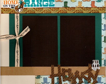 Home on the Range - Howdy!  Cowboy  2 page scrapbooking layout kit