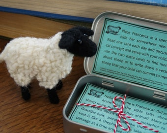 Francesca the Sheep, family game, seek and find, theology for children, Easter, Passover, Spring, Christmas