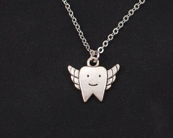 tooth necklace, sterling silver filled, silver tooth fairy charm, tooth wings pendant, dental hygiene necklace, dentist jewelry, hygienist