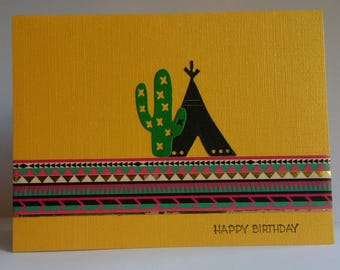 Blank Card, Greeting Card, Blank Inside, Stationery, Teepee and Cactus, Happy Birthday Card, Handcrafted Card, Blank All Occasion Card,