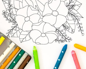 Floral Coloring Page: A digital coloring page for adults with flower and leaves. Simple design perfect for a beginner. Instant Download