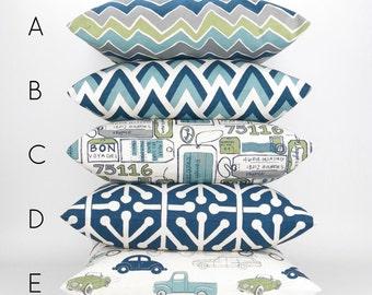Navy & Green Throw Pillow -MANY SIZES- Navy Blue Green Gray Cushion Cover, Pillow Cover, Euro Sham, Mix/Match Felix Premier Prints, FREESHIP