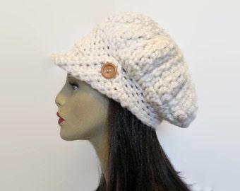 Cream Crochet Newsboy Hat Off White Adult Newsboy Slouchy Newsboy Cream Crochet Hat with Visor Knit Newsboy Hat with Brim Womens newsboy hat