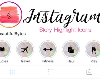 20 Instagram Story Highlight Cover Images, Purple Green Marble and Black