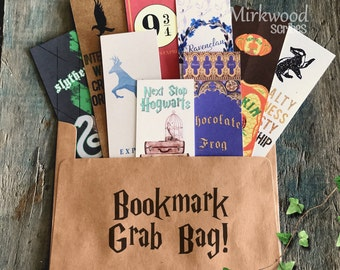 Gift for Reader, Random Wizard Bookmark Grab Bag, 9 Random Printed Bookmarks in a Cute Owl Post Envelope, Owl Post Bookmark Gift