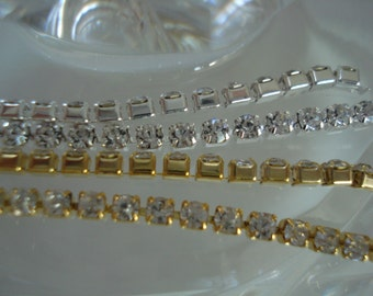 2.3mm Rhinestone Cup Chain with Close Crystals ss8 in Silver or Gold Tone Settings