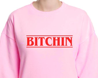 Bitchin Stranger Things Sweatshirt | Eleven Christmas Sweater | Baby Pink