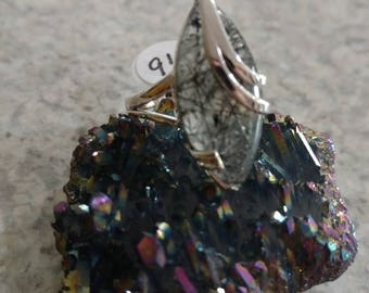 Black Tourmalinated Quartz and 925 Sterling Silver, Size 9 1/2