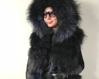 Bolero jacket coat fur   fox  Black