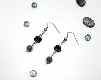 Christmas gift idea - cat's eye and insert in black epoxy resin Pearl dangling earrings