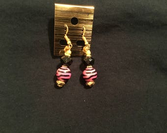 Beautiful pink and black striped small dangling earrings