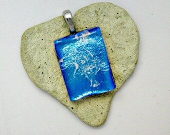 Lovely Dichroic Blue Abstract Tree Design Fused Glass Pendant