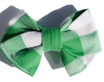 White and Green Hair Bows for Girls- Spring Bow Headband Girls - Wedding Hair Accessories - Fabric Hair Bow - Buffalo Hair Clip for Toddlers