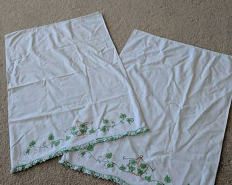 Pair of Vintage Pillowcases with Ivy Accents