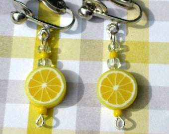 lemon earrings- lemon slice jewelry-clip on earrings-fruit jewelry-fruit posts-polymer clay-food earrings-cute gifts for kids-teen earrings