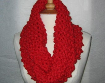 Thick and Plush Red Cowl Scarf Neck Warmer