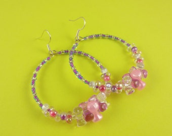 Pink and Lilac Beaded Hoop Earrings - pretty circle earrings with tri beads, barbell beads & seed beads - pastel Spring colours white purple