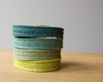 Wool Wool Felt Stack Bracelet Wristband Cuff ø Lush ø LoftFullOfGoodies ø Stocking Stuffer ø Holiday Gift