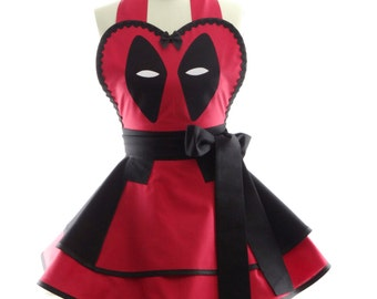 Retro Apron - Deadpool Womens Costume Apron - Kitchen, Hostess, & Cosplay Aprons for Women by BambinoAmore