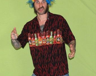 90s Big Dog Tribal Flame Guy Fieri Style Button Up Shirt. 90s Hot Sauce Shirt. Mens Large Lightweight Button Up Big Dog Shirt. Dad Shirt.