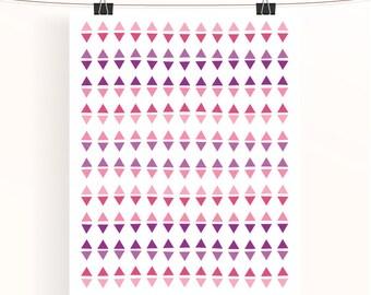 pink & purple triangle geometric print - abstract poster - home wall art - baby girl nursery print - home decor - nursery art