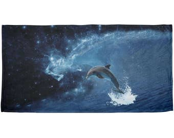 Dolphin IN SPACE Galaxy Ocean Wave All Over Beach Towel