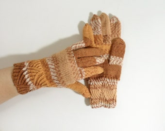 Hand Knitted Gloves - Beige and Brown, Large