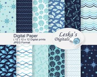 "Nautical digital paper, ""NAUTICAL"" coastal papers, scrapbook paper, nautical printable paper, sea digital paper pack shells rope compass"