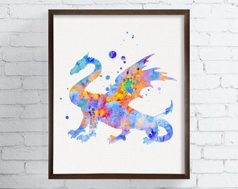 Dragon Art Print, Watercolor Dragon, Dragon Poster, Dragon Wall Art, Baby Boy Nursery, Kids Wall Art, Childrens Room Decor, Boys Room Decor