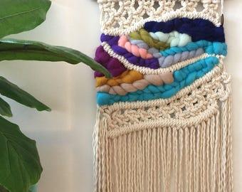 Macrame wall hanging, macraweave, macrame with wool roving