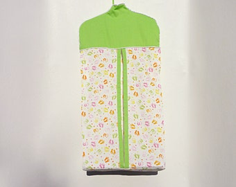 Customizable diaper stacker in lime green nursery print, nappie holder, nappie stacker, diaper carrier, diaper holder, nappie carrier