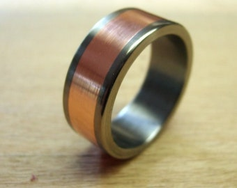 Titanium Ring, Copper Ring, Wedding Ring, Mens Ring, Womens Ring, Handmade Ring, Copper Wedding Ring, Engraved Ring, Mens Wedding Ring