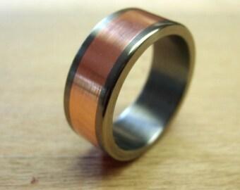 Titanium Ring, Copper Ring, Wedding Ring, Mens Ring, Womens Ring, Handmade Ring, Copper Wedding Ring, Engraved Ring, Mens Wedding Ring