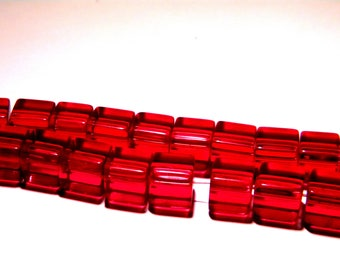 translucent glass - 8 mm-red-PG138 cube 20 beads