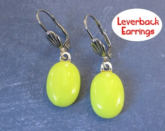 Yellow Leverback Earrings, Dangle Yellow Leverbacks, Silver Plated Leverback, Fused Glass Jewelry - Salina - 290 -4