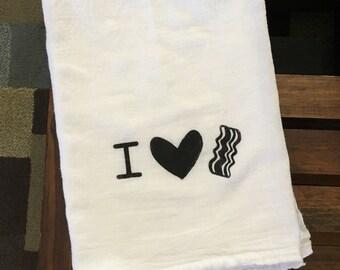 I Love Bacon, Tea Towel, Bacon Lover, Kitchen Towel, Hand Painted Kitchen Towel, Bacon Decor, Kitchen Decor, Bacon, I Heart Bacon, Tea Towel
