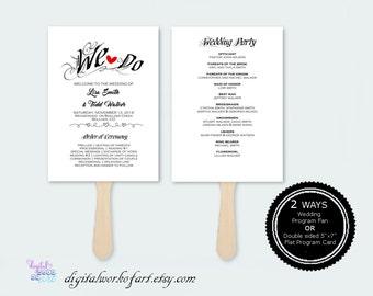 Rustic Wedding Program Template, DIY Wedding Program Fan Printable, Editable PDF Instant Download, Ceremony Printable Template, We Do 211-1