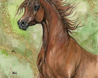Chestnut arabian horse, equine art, equestrian portrait,  original gilded pen and watercolor painting