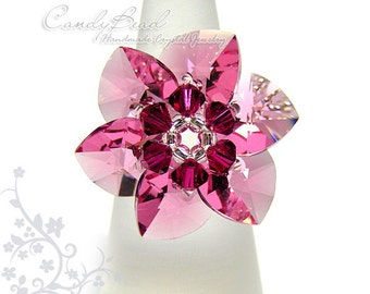 Swarovski Ring;crystal ring;Flower ring, Rosy Swarovski Crystal Ring by CandyBead