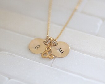 Loves Necklace - Gold Initial Necklace - Ampersand Symbol- And Symbol - My Loves Necklaces - Engagement Gift - Gift For Her - Bridal Gift