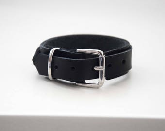 Black leather basic cuff with, buckle bracelet, belt cuff