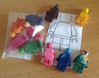 Robot  men styled crayons. Sold in packs of 5 - mini figure crayons