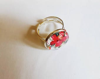 Silver cabochon ring adjustable red hibiscus pattern